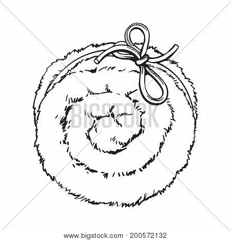 Top view of rolled up fluffy green towel, spa salon accessory, black and white outline vector illustration on background. Realistic hand drawing of towel roll, spa salon accessory