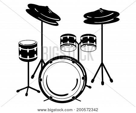 Drum unit. Vector illustration of a percussion musical instrument. Stylized black and white illustration. Rock concert.
