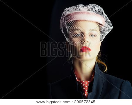 Girl In Tie With Red Dots On Neck