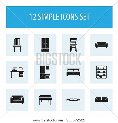 Set Of 12 Editable Interior Icons. Includes Symbols Such As Sofa, Trestle, Bearings And More