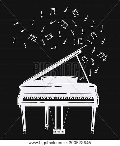 Vector illustration of a piano with notes. Keyboard musical instrument. Stylized grand piano issuing sound. Musical emblem.