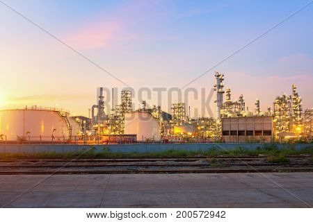 Oil Refinery factory at twilight petrochemical plant Petroleum Chemical Industry