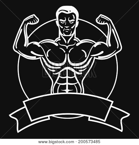 Bodybuilder with a sporty physique. A man with muscular muscles. Black and white athlete logo. Sports emblem. Master of mixed martial arts.