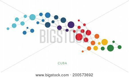 dotted texture Cuba vector rainbow colorful background