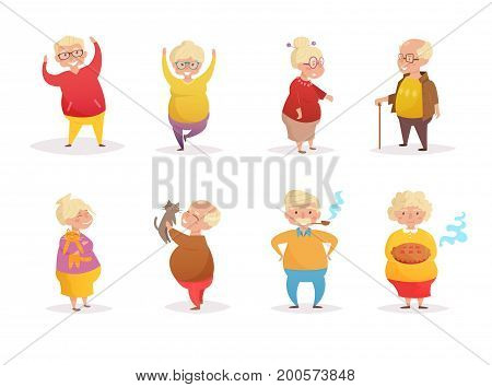Set with pensioners. Vector. Cartoon. Isolated art on white background. Flat. Grandparents day