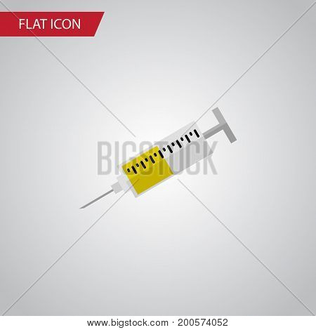 Vaccine Vector Element Can Be Used For Syringe, Vaccine, Medicine Design Concept.  Isolated Syringe Flat Icon.