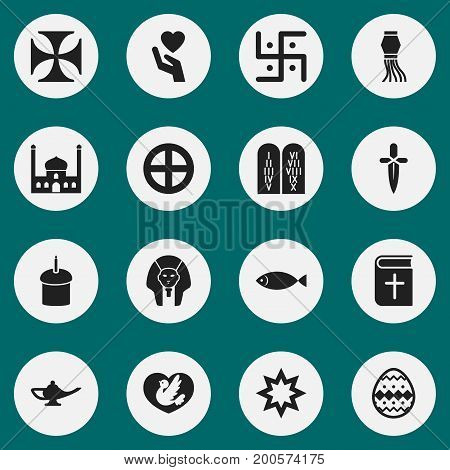 Set Of 16 Editable Faith Icons. Includes Symbols Such As Fish, Religious Sign, Traditional Lamp And More
