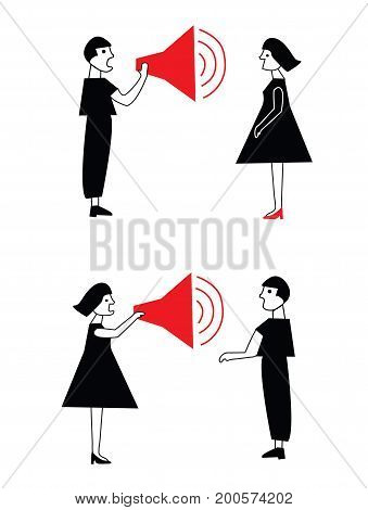 Man and woman conflict and communication in pairs vector graphic illustration