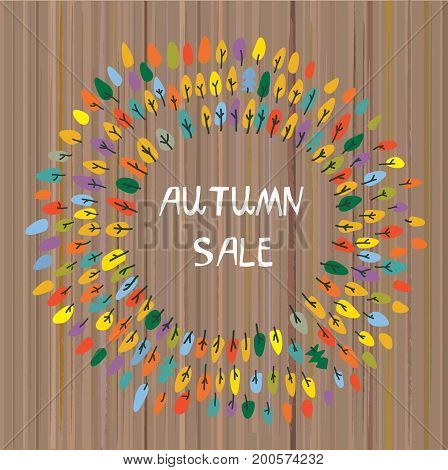 Autumns sale backgroun with the trees for the park or camp. Vector graphic illustration