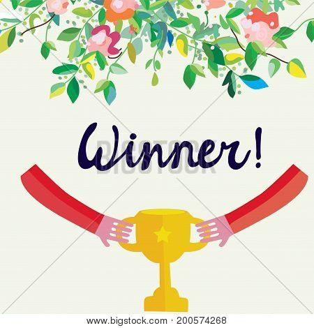 Winner background with cup and flowers cute design. Vector graphic illlustration