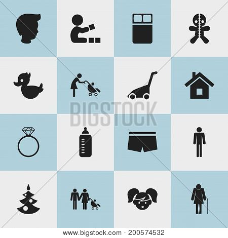 Set Of 16 Editable Folks Icons. Includes Symbols Such As Grass Cutting Machine, Baby Stroller, Home And More