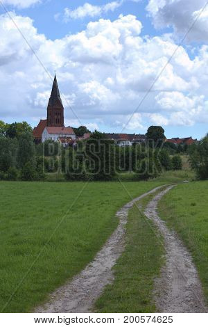 View Over Meadow To The Town Of Guetzkow, Mecklenburg-vorpommern, Germany