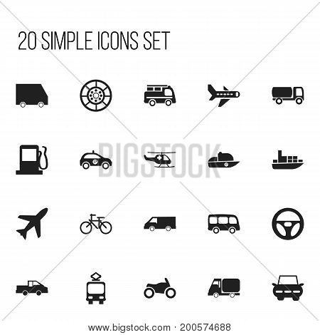 Set Of 20 Editable Shipment Icons. Includes Symbols Such As Tour Bus, Lorry, Food Transport And More