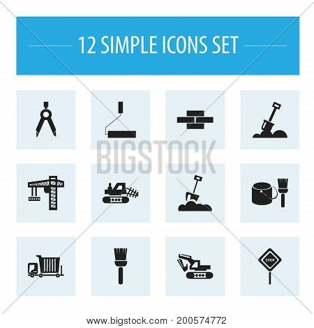 Set Of 12 Editable Structure Icons. Includes Symbols Such As Mop, Mule, Caution And More