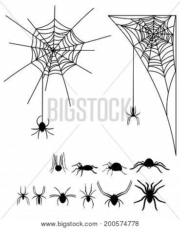 A set of silhouettes of spiders and cobwebs. Collection of black silhouettes of spiders for Halloween.
