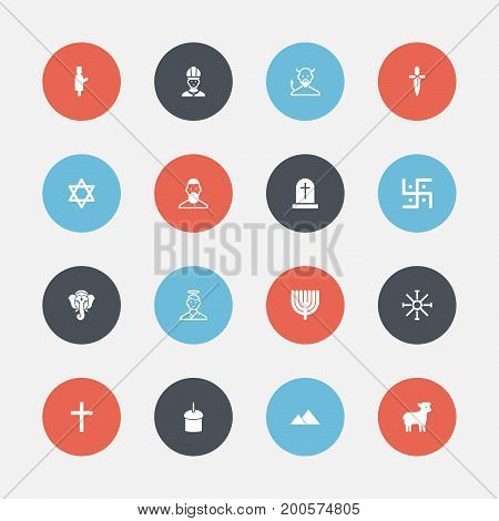 Set Of 16 Editable Dyne Icons. Includes Symbols Such As Religious Sign, Muslim, Christian And More