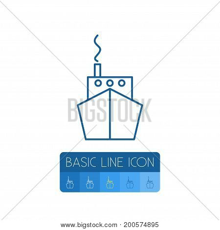 Ship Vector Element Can Be Used For Ship, Vessel, Boat Design Concept.  Isolated Vessel Outline.