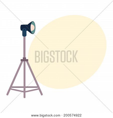 Professional photo studio equipment set - tripods, flash, cartoon vector illustration with space for text. Set of cartoon style professional photo, photographer studio equipment