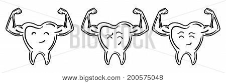Collection of logos of teeth with strong hands. A set of stylized teeth of bodybuilders. Logo. Black and white illustration.