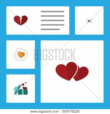 Flat Icon Passion Set Of Divorce, Letter, Soul And Other Vector Objects
