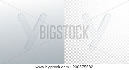3d paper cut letter Y isolated on transparent checkered background. Typographic minimalistic element. Creativity concept. Vector illustration. Logo template. Paper typography design