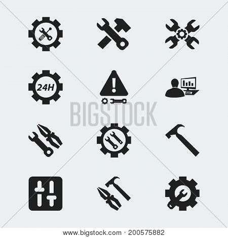 Set Of 12 Editable Toolkit Icons. Includes Symbols Such As Caution, Pliers Hammer, Settings And More