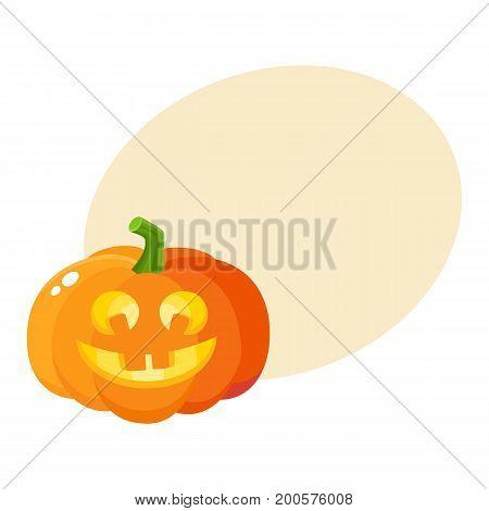 Laughing, happy pumpkin jack-o-lantern with funny teeth, Halloween symbol, cartoon vector illustration with space for text. Pumpkin lantern with smiling, laughing face, Halloween decoration
