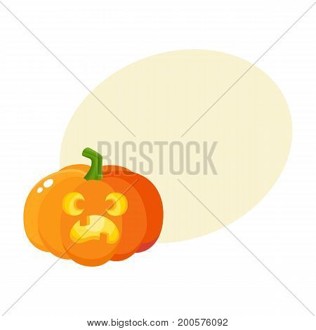 Pumpkin jack-o-lantern with scared face, Halloween symbol, cartoon vector illustration with space for text. Cartoon pumpkin lantern with face showing fear, surprised, Halloween decoration