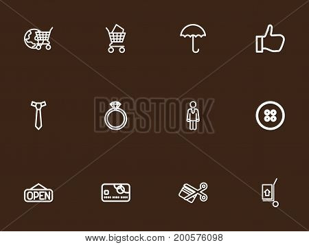 Set Of 12 Editable Shopping Outline Icons. Includes Symbols Such As Open, Bargain, Jewel And More