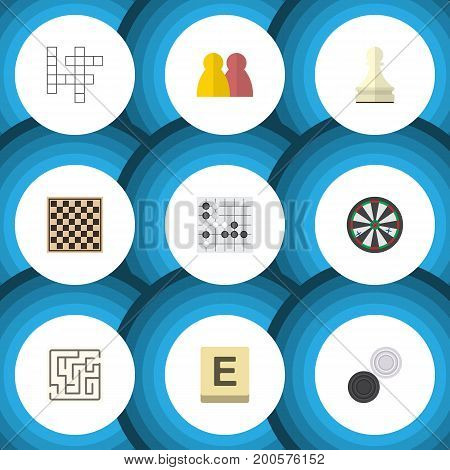 Flat Icon Play Set Of Arrow, Mahjong, Gomoku And Other Vector Objects