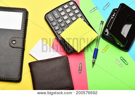 Office Tools And Wallet Isolated On Colourful Background, Top View