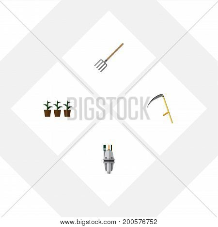 Flat Icon Farm Set Of Cutter, Pump, Hay Fork And Other Vector Objects