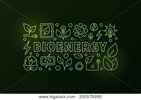 Bioenergy vector banner. Creative bio-energy outline colorful illustration on dark background. Green energy concept