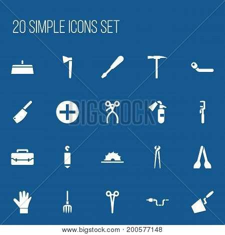 Set Of 20 Editable Equipment Icons. Includes Symbols Such As Hay Fork, Plus, Surgical Scissors And More