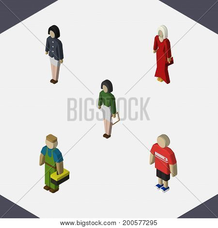 Isometric Human Set Of Girl, Plumber, Female And Other Vector Objects