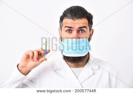 Physician With Beard Dressed In White Gown