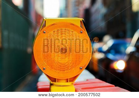 Yellow Traffic Signal Warning Road Block