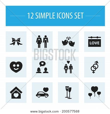 Set Of 12 Editable Passion Icons. Includes Symbols Such As Joy, Car, Sexuality And More
