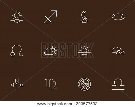 Set Of 12 Editable Weather Outline Icons. Includes Symbols Such As Moon Up, Wind Direction, No Flight And More