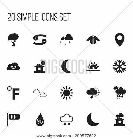 Set Of 20 Editable Air Icons. Includes Symbols Such As Night, Happy Overcast, Crab And More