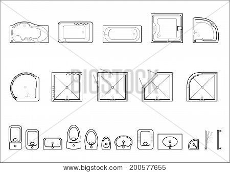 Set of icons for architectural plans. Plumbing from baths, sinks and toilets, showers. Vector graphics
