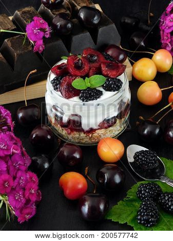 Oatmeal with yogurt and berries in a jar surrounded by berries and pink flowers. Layered breakfast