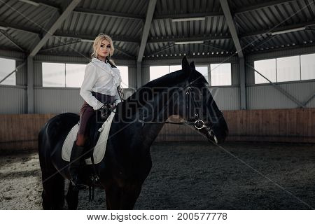 Beautiful Elegant Young Blonde Girl Sits On A Her Black Horse Dressing Uniform Competition White Blo