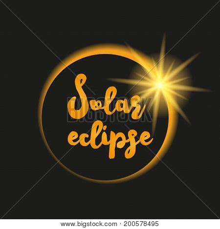 Solar eclipse vector illustration on dark background