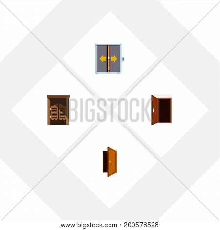 Flat Icon Door Set Of Lobby, Saloon, Entry And Other Vector Objects