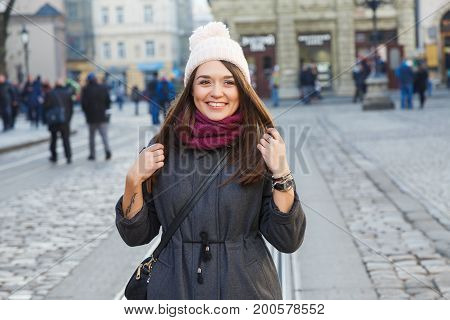 Pretty Girl Posing On The Street Of Old European City
