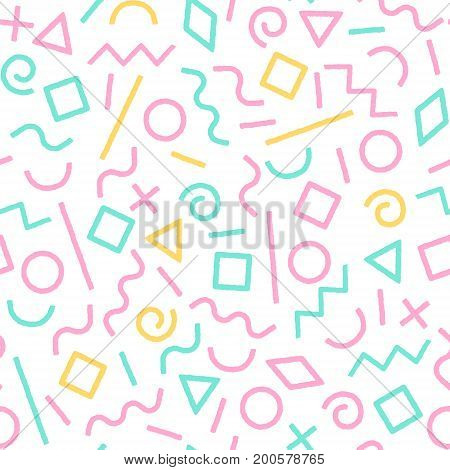 Pastel colored memphis abstract geometric shapes seamless pattern, vector background