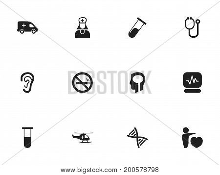 Set Of 12 Editable Hospital Icons. Includes Symbols Such As Listen, Intelligence, Emergency And More