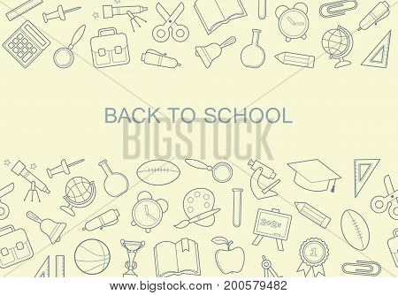 The layout of the banner back to school with icons school symbols