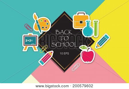 The layout of the flyers back to school with stickers school symbols